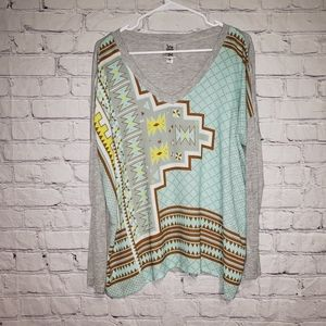 Ivy Jane Aztec Print V Neck Blouse
